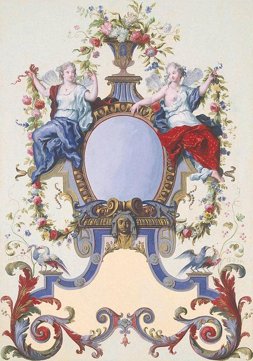 III Ottomar Elliger--Holland,1727 and 1735.Cartouche   Drawings, Watercolour and gouache, 57.9x36.8 cm   Origin: Holland, Between 1727 and 1735