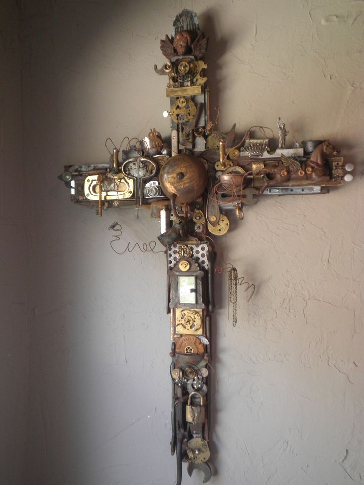 Cross sculpted from junk and collectibles from Hunter's Crossings