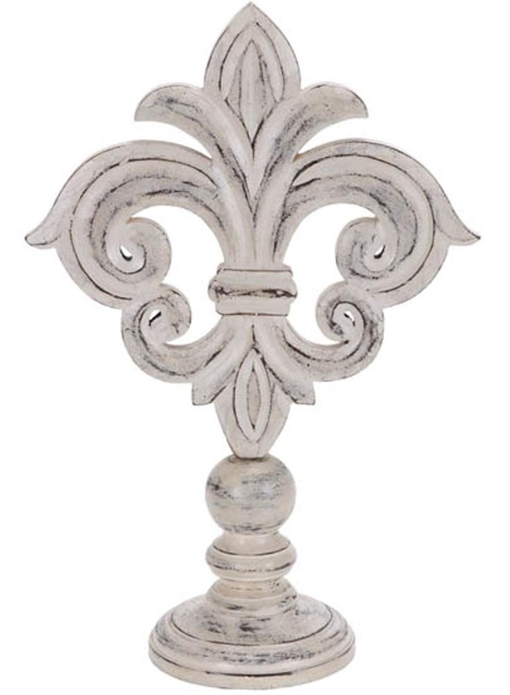 white wood fleur de Lis finial