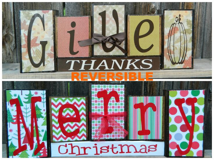 Reversible Christmas and Thanksgiving wood by BuzzingBeesCrafts, $26.00