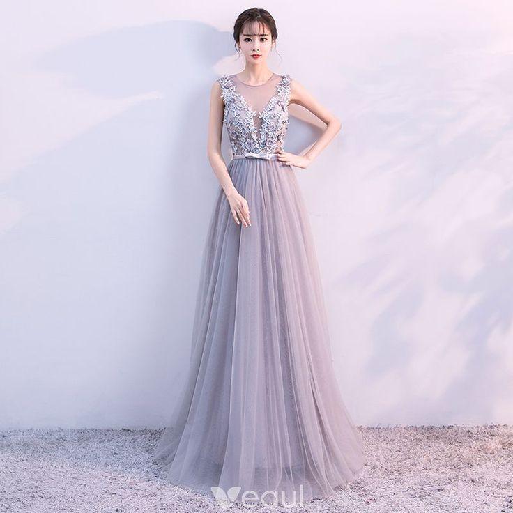 Elegant Grey Evening Dresses 2017 A-Line / Princess V-Neck Sleeveless Appliques Flower Beading Crystal Bow Sash Floor-Length / Long Backless Pierced Formal Dresses