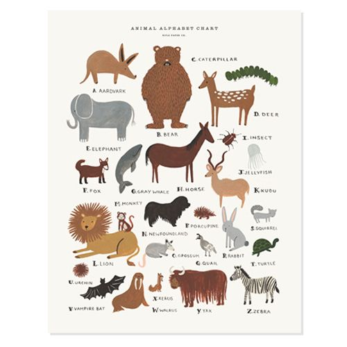 Children's Animal Alphabet Chart