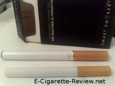 Can you tell which is the real cigarette and which is the electronic cigarette?  E-Cigarette-Review.net
