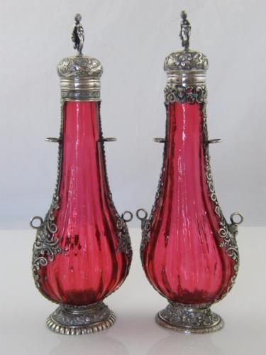 PR-CONTINENTAL-SILVER-amp-CRANBERRY-GLASS-FLASKS