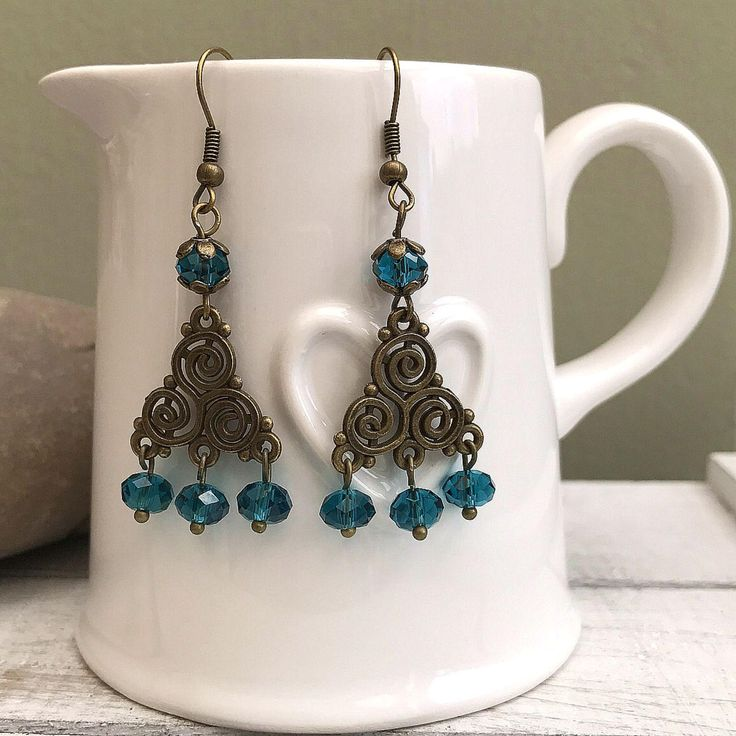 Gypsy Earrings, Boho Magic, Festival Earrings, Tassel Earrings, Boho Bride, Bronze Swirly Earrings, Bronze and Turquoise Teal Earrings by nimmysjewellery on Etsy