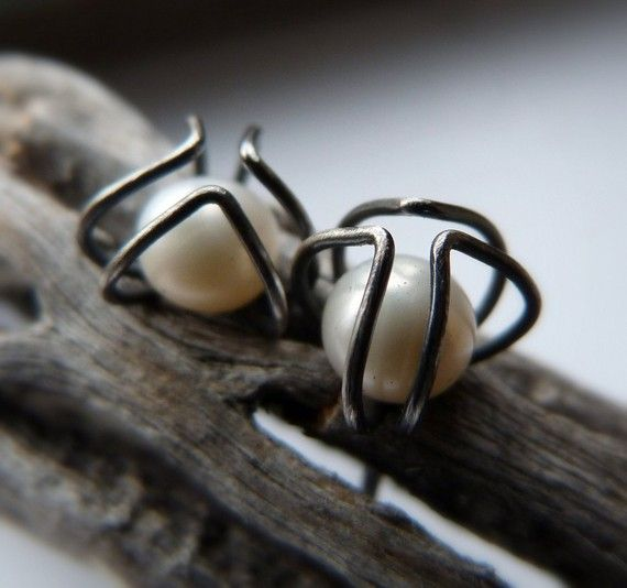 Pod and Pearl Studs by moiraklime on Etsy