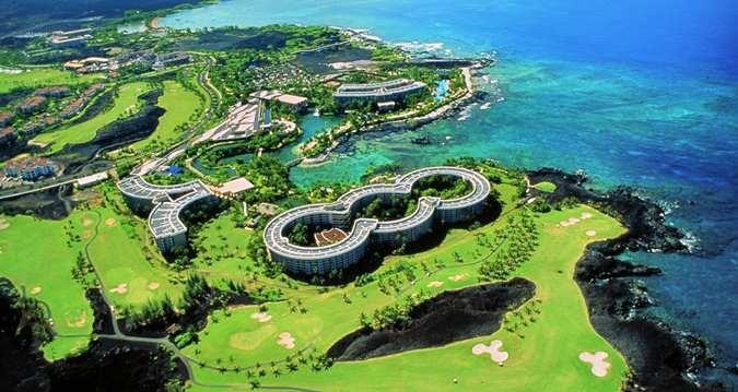 Aerial view of Hilton Waikoloa Village in Waikoloa, Hawaii.