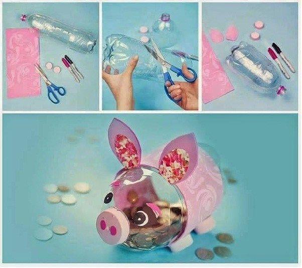 hucha cerdito reutilizable hecha con botellas de plástico