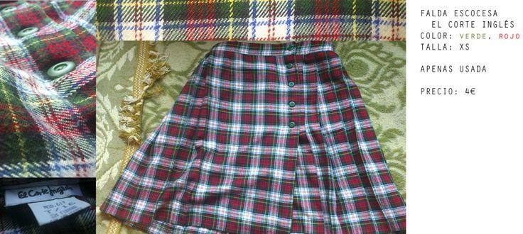 Falda escocesa talla XS. Ideal para mujeres de cintura fina o niñas de entre 13 y 16 años. De estapado tartán, esta falda del corte inglés se puede combinar con muchas cosas, y tiene un preció de t...