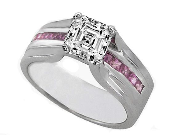 Engagement Ring Cher Cut Diamond Bridge With Pink Shire Tcw
