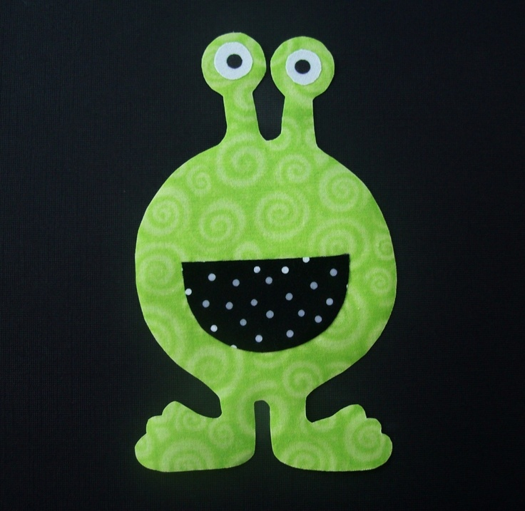 Fabric Applique TEMPLATE ONLY Big Mouth Alien by etsykim on Etsy