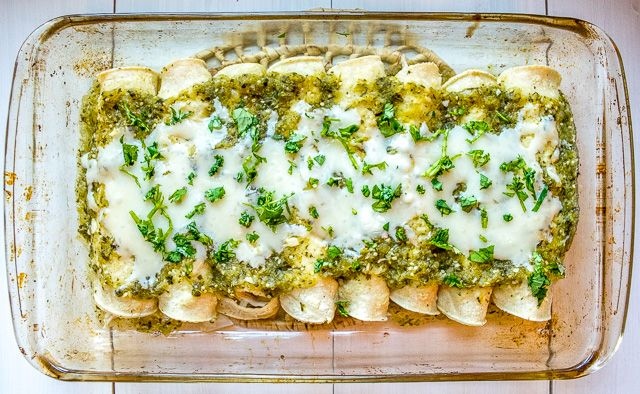 An authentic version of Enchiladas Suizas is always at the top of my list -- cheesy chicken enchiladas drenched in a creamy green sauce. So good!