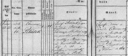 Eleanora Polacek Birth Baptism Record