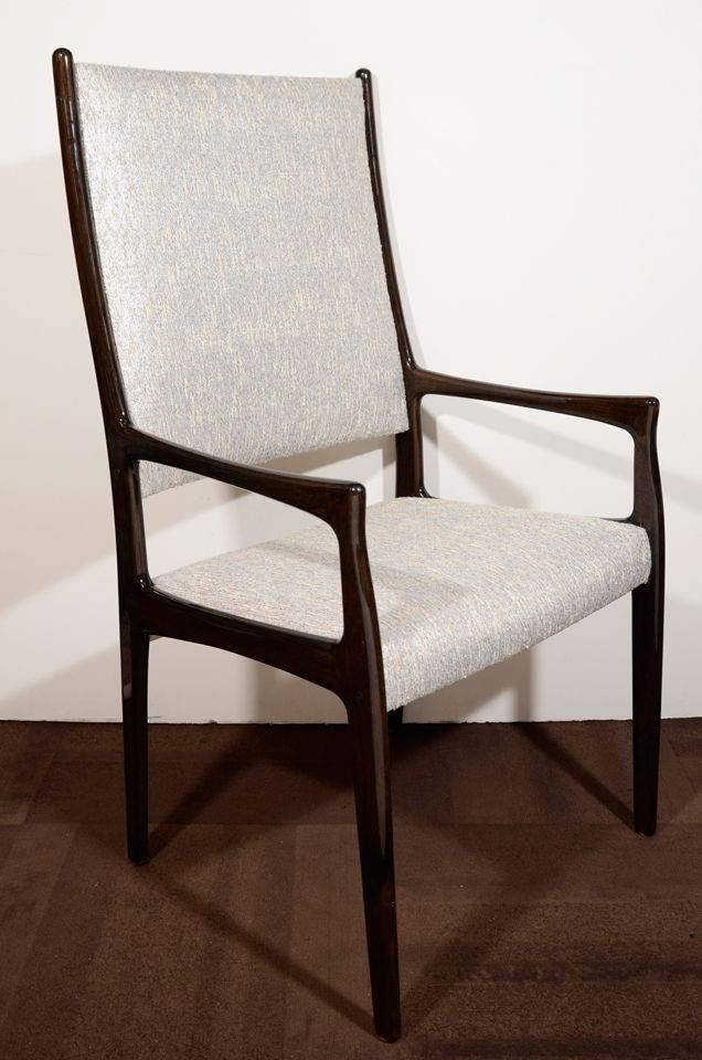 Set of Six Modernist High Back Dining Chairs in the Manner of Gio Ponti | From a unique collection of antique and modern dining room chairs at http://www.1stdibs.com/furniture/seating/dining-room-chairs/