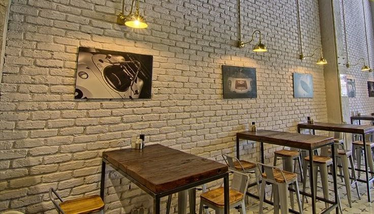 Cafe refurbishment using Minnesota White Brick Slips and pendant lighting