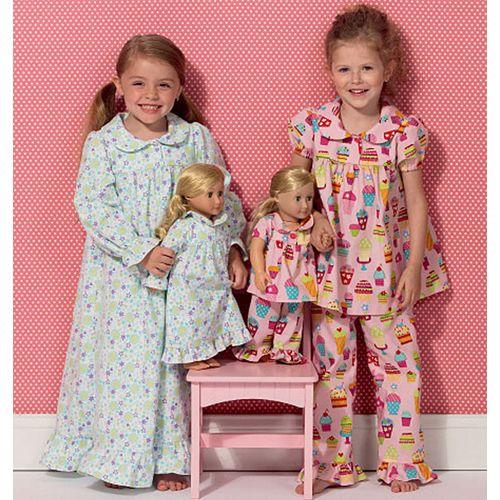 A little girl and her doll would look so cute in their matching loungewear! Choose your favorite comfy flannels and colourful fabrics - Kwik Sew Girls' And Dolls' Loungewear Sewing Pattern 0157
