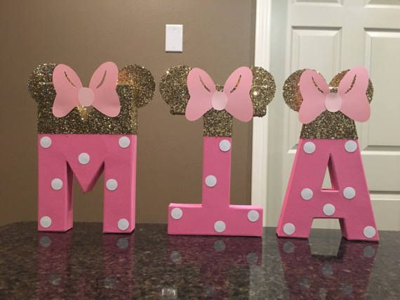 PERSONALISED MINNIE MOUSE STYLE  PARTY BANNER PINK AND GOLD ANY SINGLE NAME
