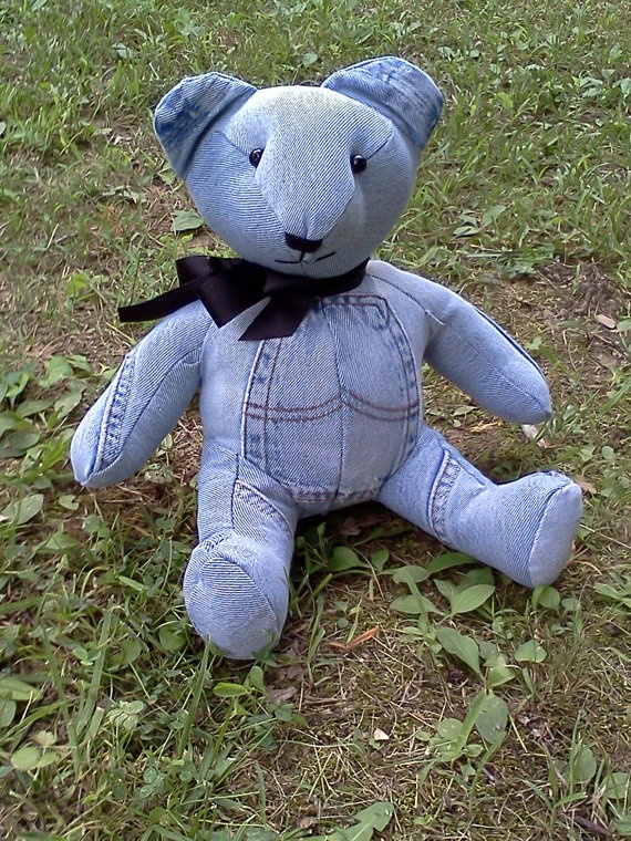 Denim Bear - Robby made one of these.  he's actually really cute, though we never put eyes or a nose on him, we did suit him up with a collar... he sits on our fireplace now!!!  xD