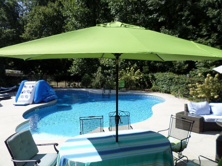 We Replaced Our Large Round Patio Umbrella With A Rectangular Patio  Umbrella For Better Shade Around