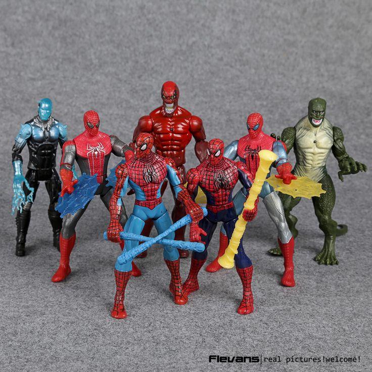 Человек-паук Игрушки Удивительный человек-Паук Яд Ящерица ПВХ Фигурки 16 см 7 шт./компл. HRFG473