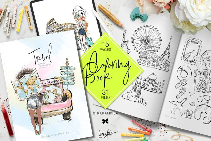 Travel Adult Or Children S Coloring Book 532467 Book Publishing Design Bundles In 2020 Childrens Colouring Book Book Publishing Design Coloring Books