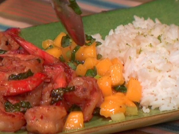 Spicy Coconut Shrimp with Spicy Mango Basil Salsa and Lime Jasmine Rice from FoodNetwork.com