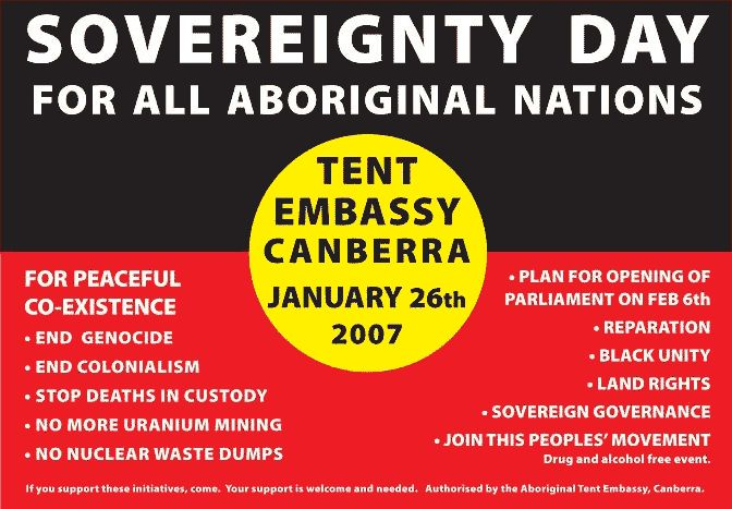 Poster for Aboriginal Sovereignty Day 2007.