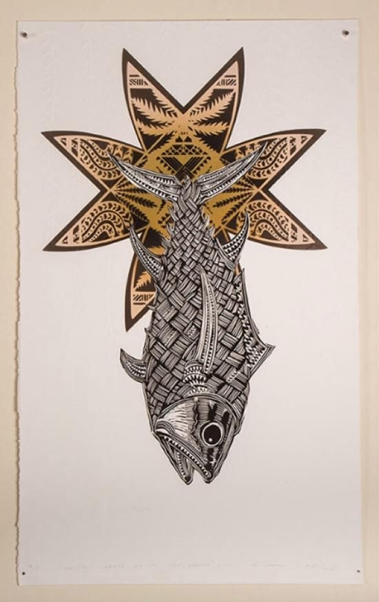 Michal Tuffrey - TUNA FISH WITH MATARIKI STAR CENTERED | Emboss/Stencil/Woodcut Paper Dimensions: 600mm x 1000mm $1150 Unframed $1500 Framed | Flox.co.nz