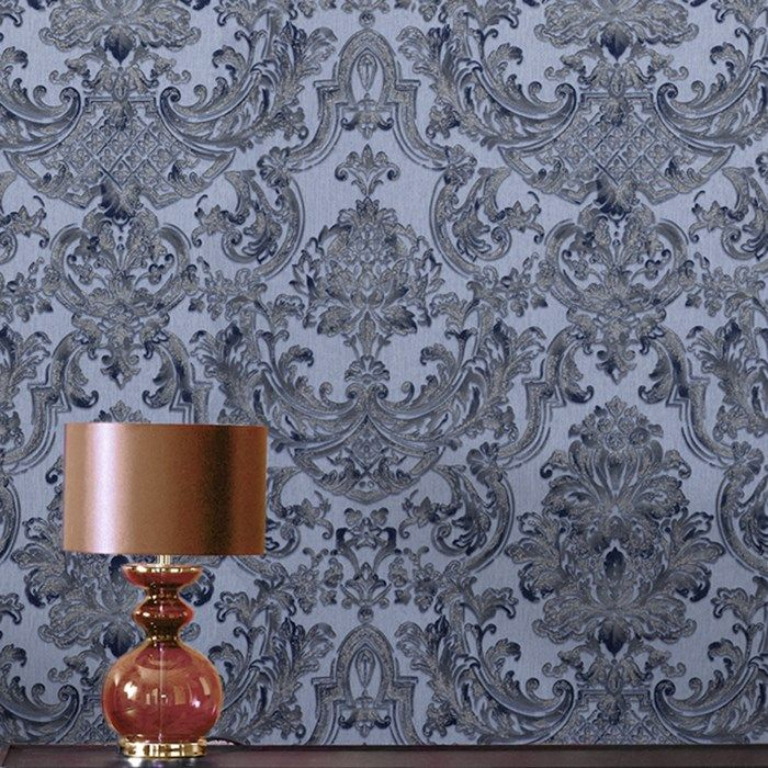Montague Blue Wallpaper - Blue Damask Wall Coverings by Graham  Brown
