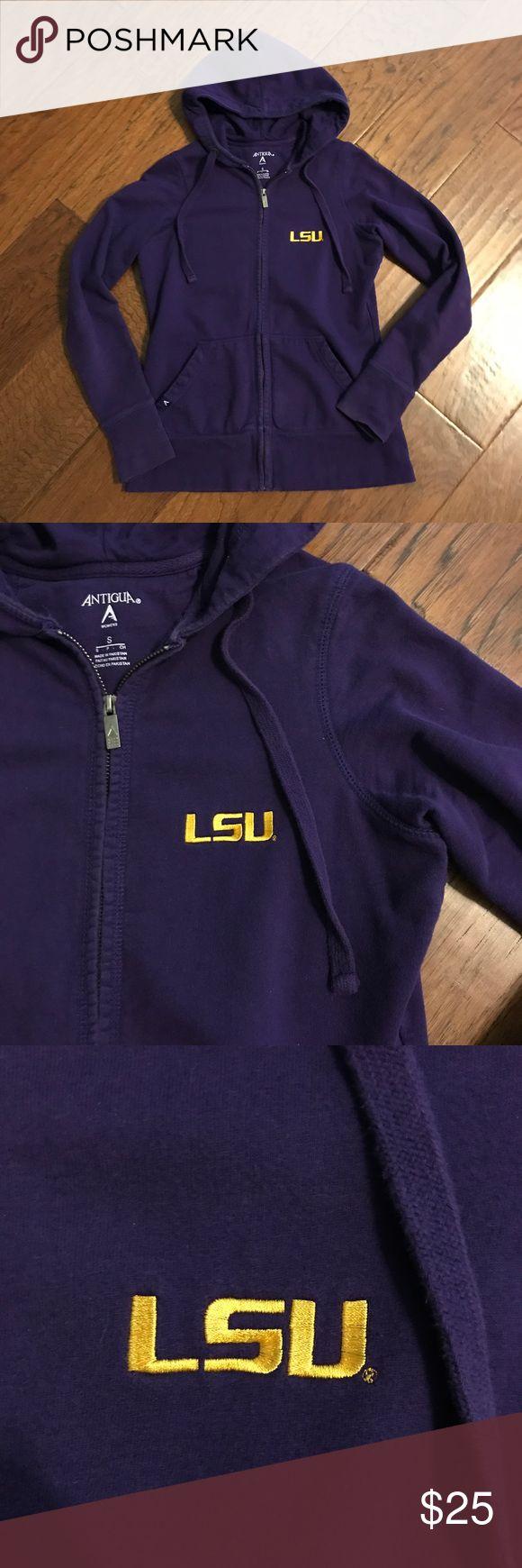 LSU Hoodie Antiqua LSU purple zipper drawstring hoodie with gold logo embroidery on chest. Size adult small. Purchased at LSU stadium store. Lightly worn. Antigua Tops Sweatshirts & Hoodies