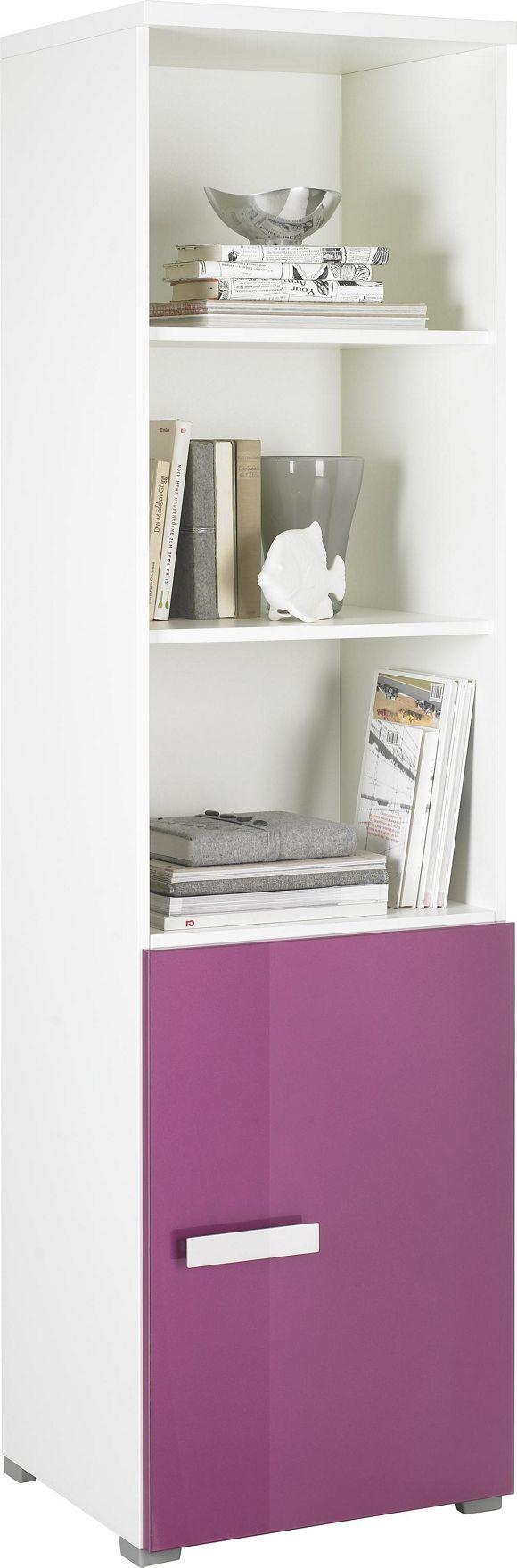 """Zusätzlichen Platz in Ihren vier Wänden schenkt Ihnen dieses Regal aus der Serie """"Change Plus"""". Das Möbel aus robustem Holzwerkstoff ist in einem angenehmen Weiß gehalten. Die Tür in Lila hebt sich gekonnt von dem Korpus ab und setzt einen originellen Akzent. Auf 3 Einlegeböden bringen Sie Bücher und Deko, wie etwa Bilderrahmen oder Skulpturen, unter. Die Tür schützt Ihre Lieblingsfotoalben oder wichtige Dokumente zuverlässig. Ein Regal, das Ihre stilgerechte Wohne"""