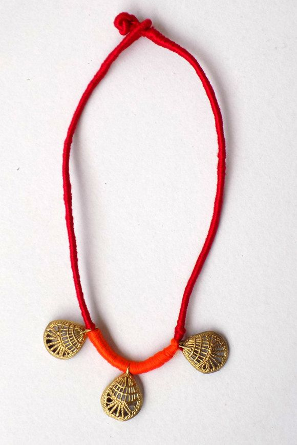 Bronze Leaf Brass Pendant Rope Necklace Wearable Art Gypsy Bohemian Tribal Antique Fertility Choker Boho Indian Hippie Je by MiharuCrafts on Etsy