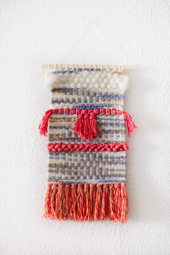 Weaving Wall Hanging, Textile Art Tapestry, Wall Art, Handwoven with Blue, Orange and White Wool. OOAK Home Decor