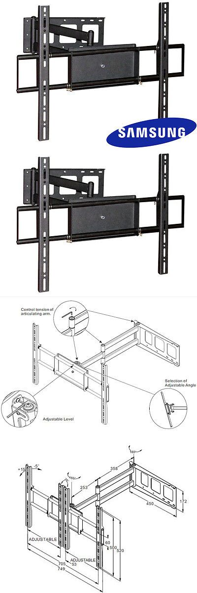 TV Mounts and Brackets: Corner Friendly Full Motion Samsung Tv Wall Mount 40 42 50 52 55 60 70 Lcd Led -> BUY IT NOW ONLY: $79.97 on eBay!