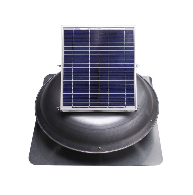 Ventamatic   Solar Powered Roof Vent Dome Mounted Panel   The Fan Comes  With A Galvanized Steel Flange And Weathered Grey Powder Coated Steel Dome.