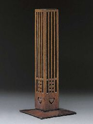 Charles Rennie Macintosh (1868-1928) - Stained Oak Flower Holder. Designed for the Willow Tea Rooms, Glasgow, Scotland. Circa 1903.