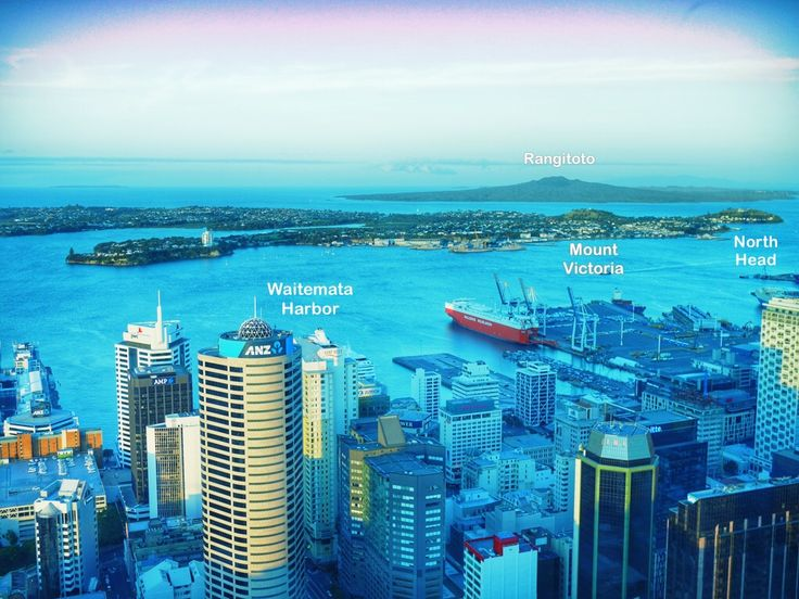 Landmarks in Auckland Harbor or Waitematā Harbor