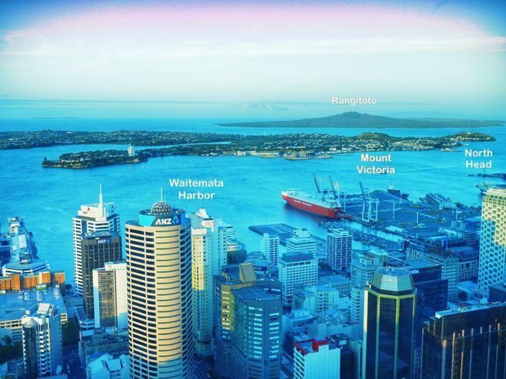 Landmarks in Auckland Harbor or Waitematā Harbor