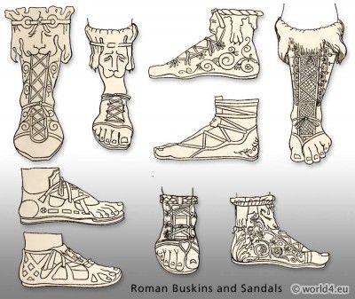 Ancient Roman shoe fashion. Buskins and Sandals. Roman footwear.