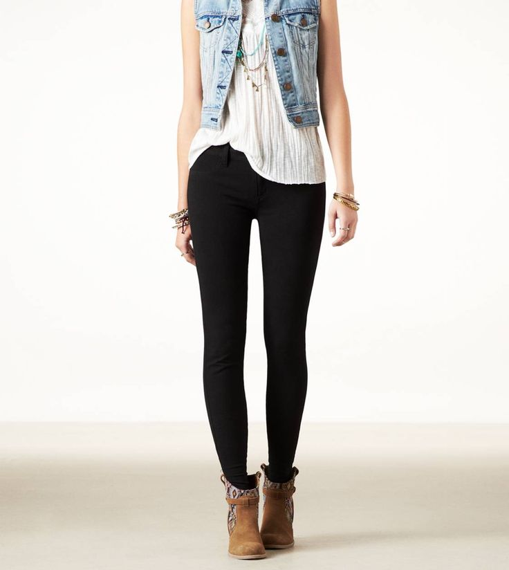 american eagle knit jegging in black, $40