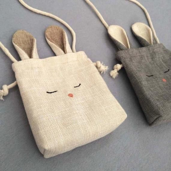 TAM Kids Bunny bag Toddler purse Cross Body Bag , Rabbit and Fox Burlap shoulder bag