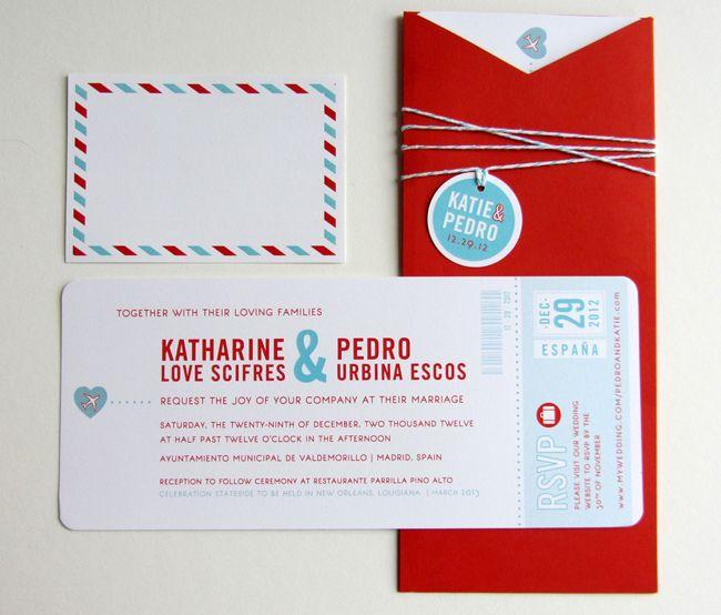 231 best Wedding - Travel Theme images on Pinterest Weddings - airplane ticket invitations