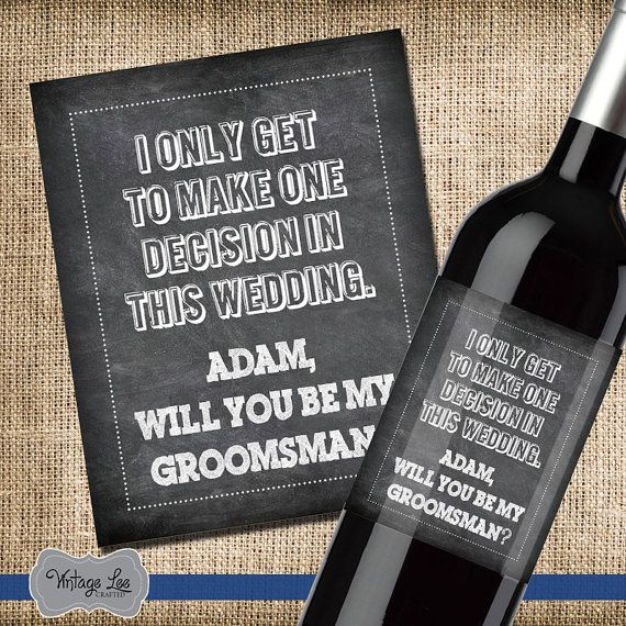 The 25 best ask groomsmen ideas on pinterest asking groomsmen will you be my groomsman wine label groomsmen wine label wedding party gift junglespirit Image collections