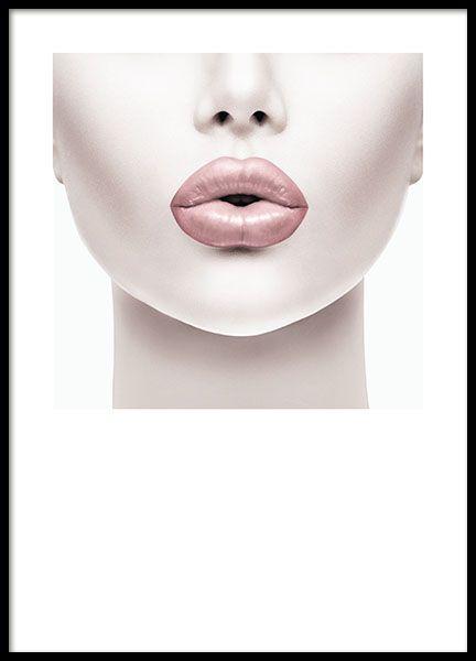 Plakat mit Fotografie einer Frau mit rosa Lippen. Stilvolles Poster mit Fashion-…