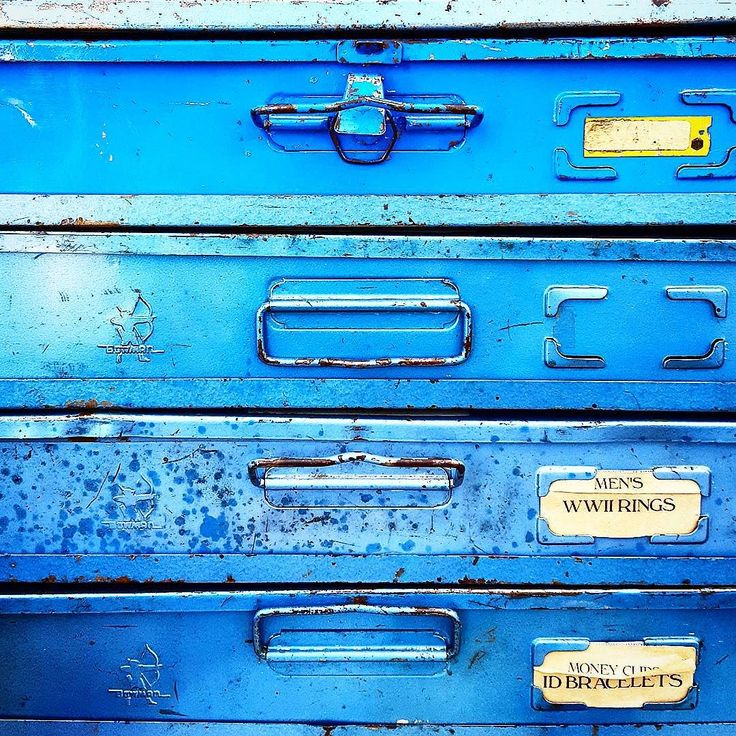 #blue #metal #drawers #containers #vintage #antique #patina #texture #box #labels #paper #storage #recycle #reuse #latch #pull #handle