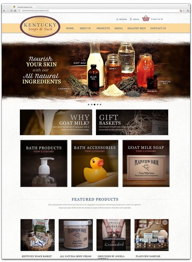 Website design for Kentucky Soaps and Such. Online store with checkout.