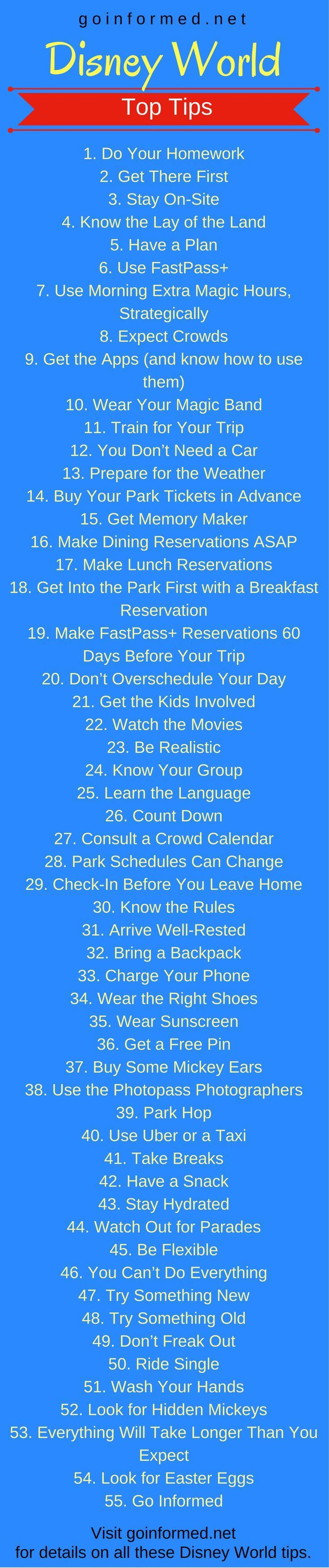 So much to learn about Disney World. 55 awesome tips to get started on Disney World plans.