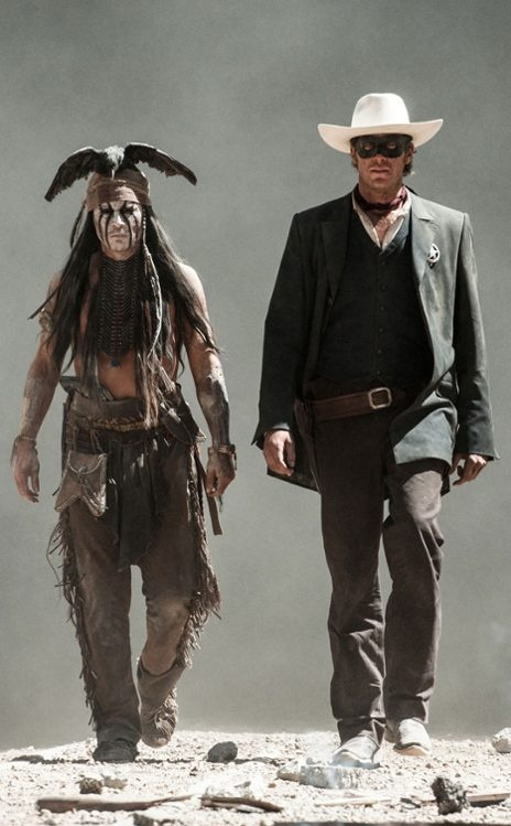 Johnny Depp as Tonto, he's been taken on as an honorary son of the Comanche Nation. The man lives in a dream.