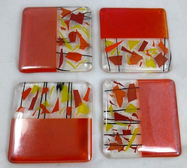 Fused Glass Coasters Sunshine colours and Orange Iridescence - set of 4