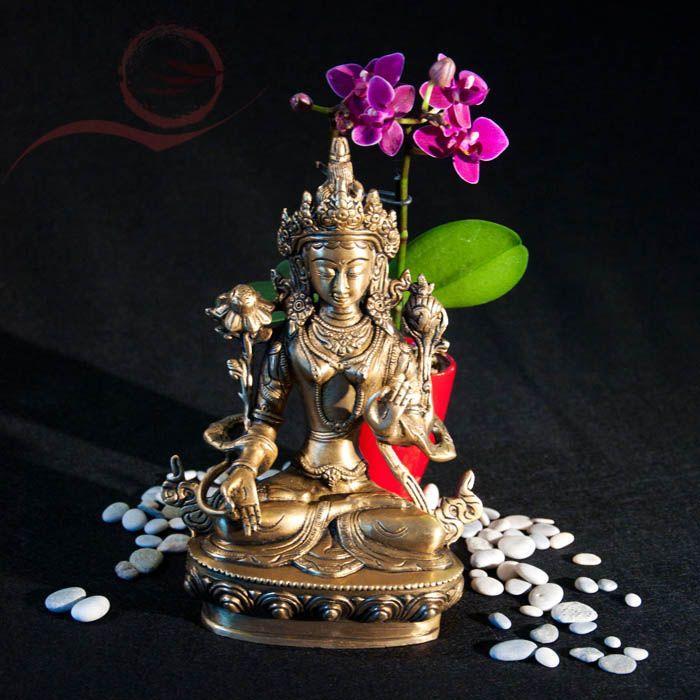 Statue Tara Verte: déité tibétaine  Tara Verte est une des diétés les plus populaire du tibet. Tara verte prête a agir elle possède le savoir. Elle protège de tous les dangers.